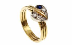 RingRing 750/- Gelbgold mit Diamanten und Saphir, Ringgröße ca. 54, ca. 0,12 ct Diamanten, 4,84g