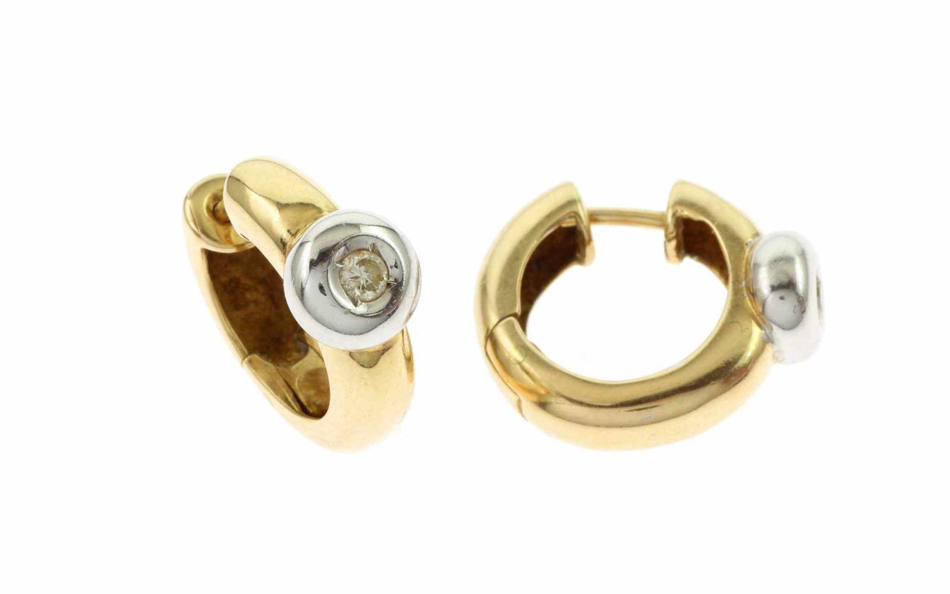 Los 25 - CreolenCreolen 585/- Gelbgold und Weißgold mit Diamanten, Länge ca. 19,70 mm, ca. 0,10 ct, G/si, 7,