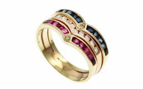 RingRing 585/- Gelbgold mit Rubinen, Saphiren und Zirkonen, Ringgröße ca. 57, 5,08g