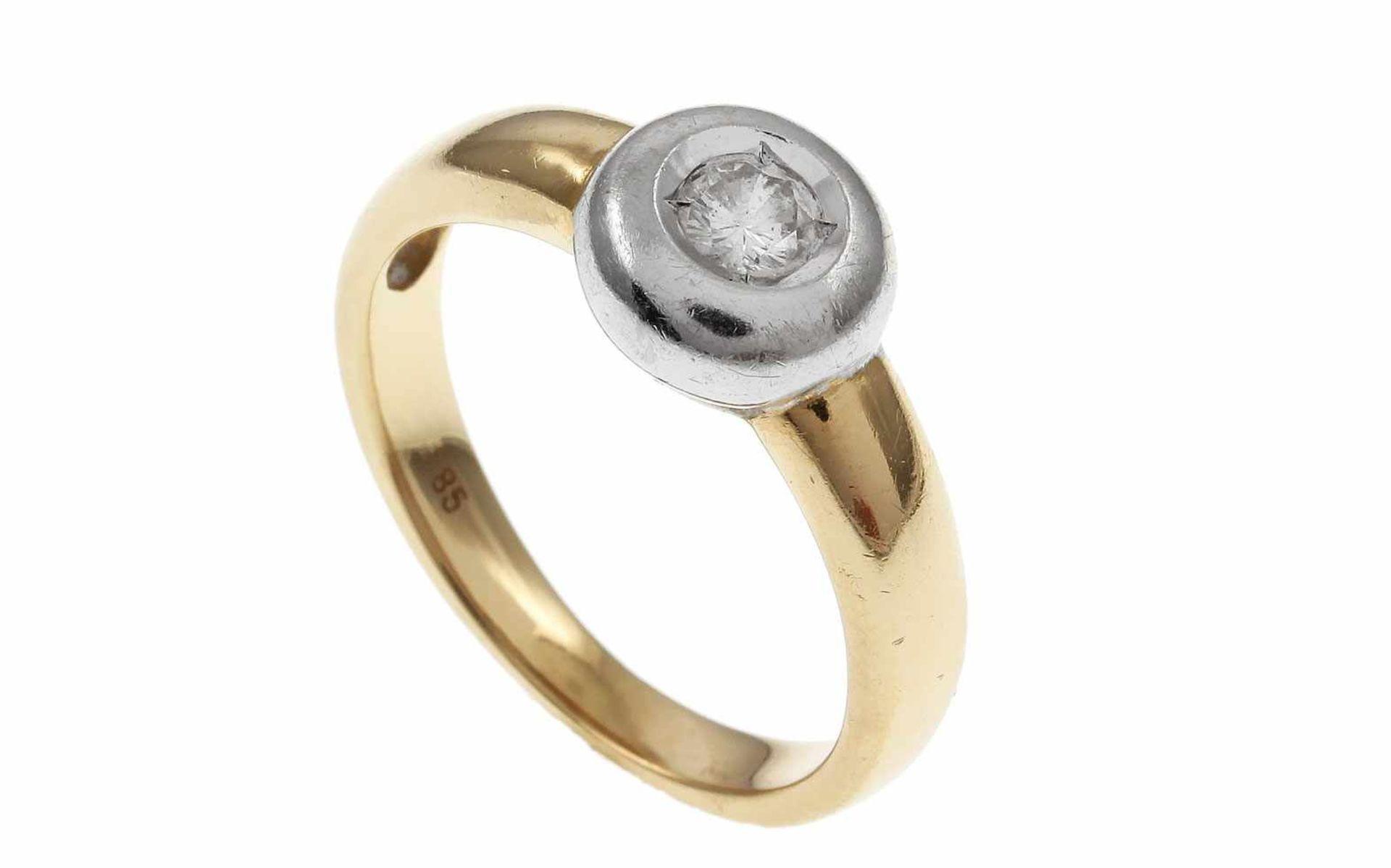 Los 23 - RingRing 585/- Gelbgold und Weißgold mit Diamant, Ringgröße ca. 54, ca. 0,18 ct, G/pi1, 4,13g