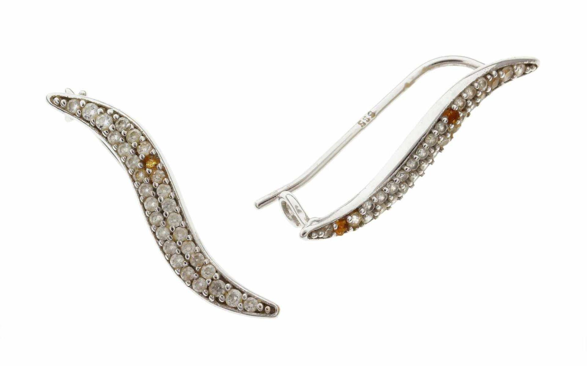 Los 7 - OhrhängerOhrhänger 585/- Weißgold mit Zirkonen, Länge ca. 22,30 mm, 1,31g