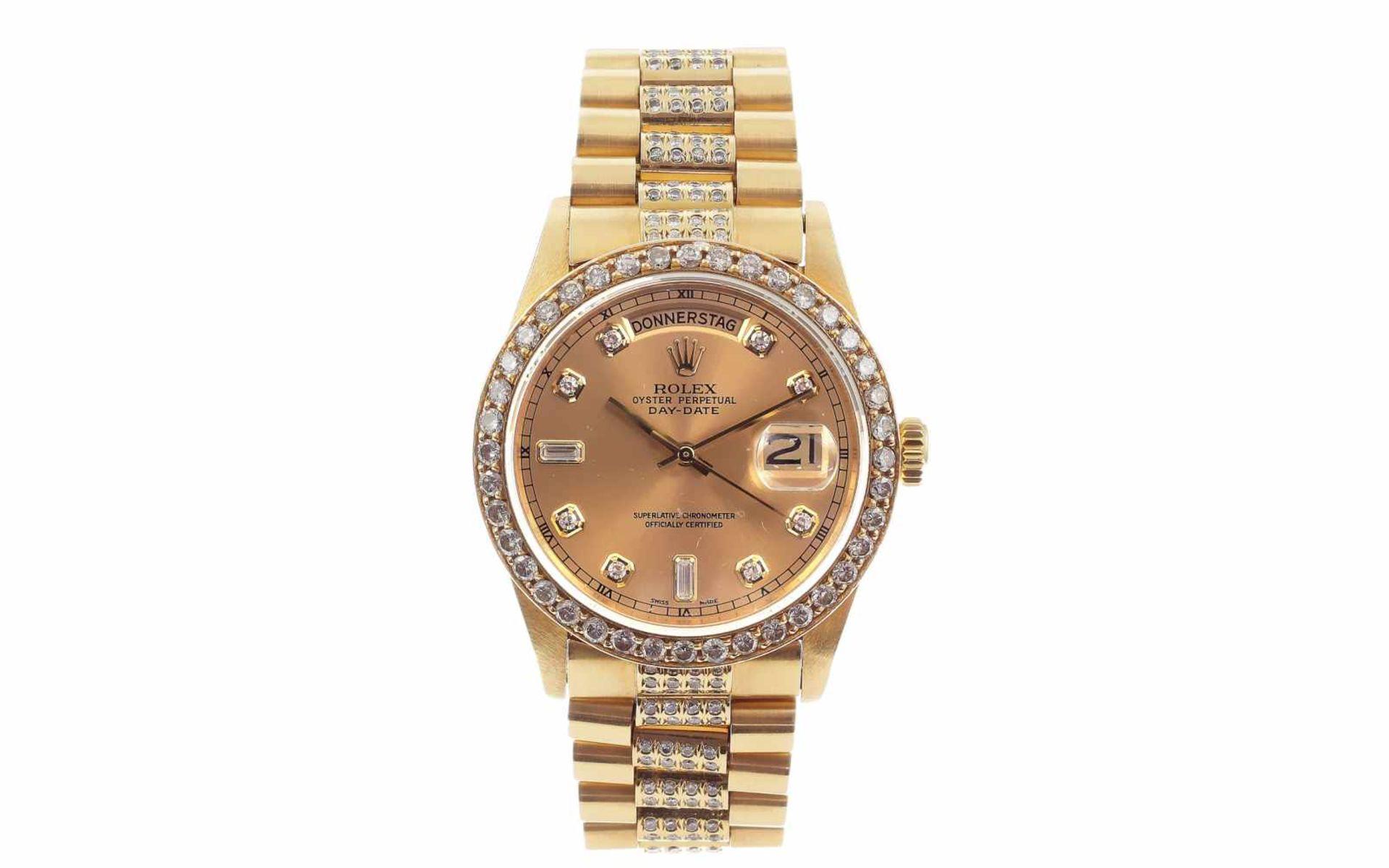 Los 46 - ArmbanduhrRolex Day-Date Ref. 18038 Automatik 750/- Gelbgold mit Diamantbesatz