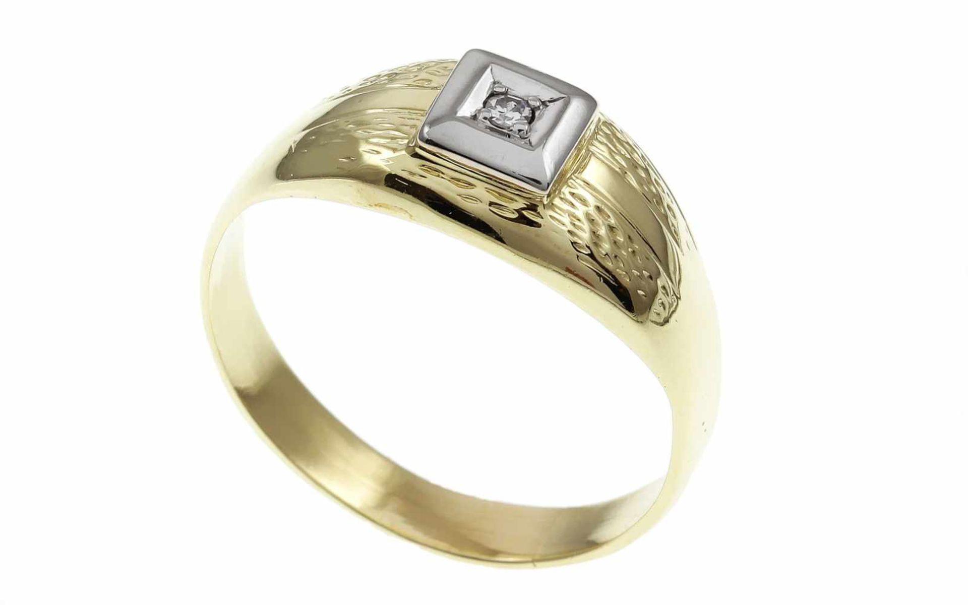 Los 54 - RingRing 585/- Gelbgold mit Diamant, Ringgröße ca. 62, 1 Diamant ca. 0,03 ct, 4,37g