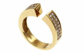 RingRing 750/- Gelbgold mit Diamanten, Ringgröße ca. 57, 32 Diamanten ca. 0,64 ct, G/vs, 7,39g