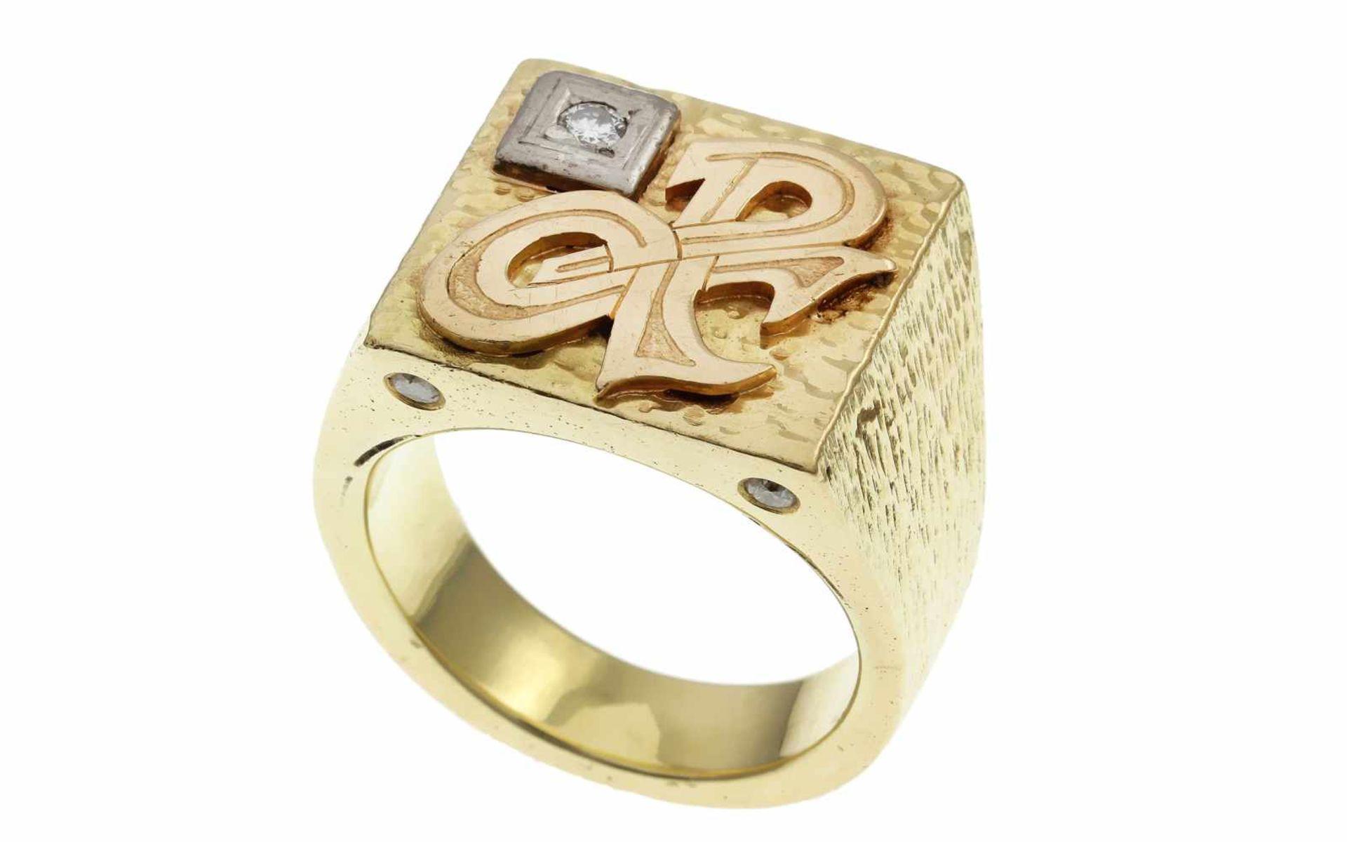 Los 57 - RingRing 585/- Gelbgold mit Diamanten, Ringgröße ca. 65, 5 Diamanten ca. 0,25 ct, G/si, 41,71g