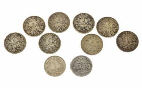 Diverse Münzen 8x1 Mark Deutsches Reich, 1x1 Reichsmark, 1x0,50 Pfennig Deutsches Reich, Total 49,97