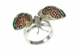 Schmetterling Ring 18K WG mit 0,34 ct. Diamanten H/vs Brillantschliff, 0,96 ct. gelbe Saphire, 0,
