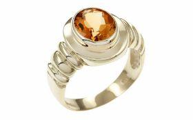 Citrin Ring 8K GG mit 2,00 ct. Citrin, oval, facettiert, RW: 57, Breite Ringkopf: 14,50 mm, Höhe