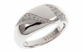 Viventy Ring 925/- Sterlingsilber mit 29 weissen Zirkonia, Ringgröße 56, Länge Ringkopf 1,00 cm,