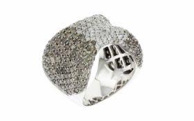 Ring mit weißen und braunen Diamanten 18K WG 1,08 ct. Diamanten Brillantschliff H/si und 3,06 ct.