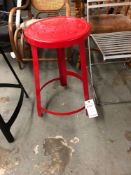 Red metal counter height stool