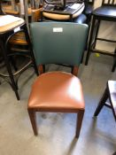 Green and brown upholstered chair