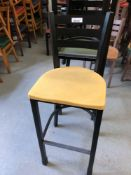 Ladder back metal stool with plastic seat