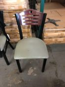 Metal chair with wood back padded seat