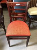 Mahogany ladder back chair with red fabric pad