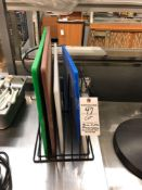 Lot miscellaneous cutting boards with rack
