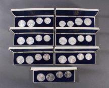 28x Silbermünzen Montreal 1976, kompletter Satz<