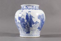 Blau-weißer Porzellan-Schultertopf, China 18. Jahrhundert
