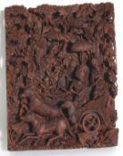 """Holzrelief Schnitzerei, """"Rama und Sita"""", Bali, 2. Hälfte 20. Jahrhundert"""