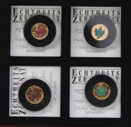 Kanada, 4 x 5 Dollar Goldmünzen, Maple Leaf Frühling, Sommer, Herbst und Winter, 999/1000 Gelbgold, Stempelglanz, in Münzkapsel und Holzschatulle, ca. 12,4 g.