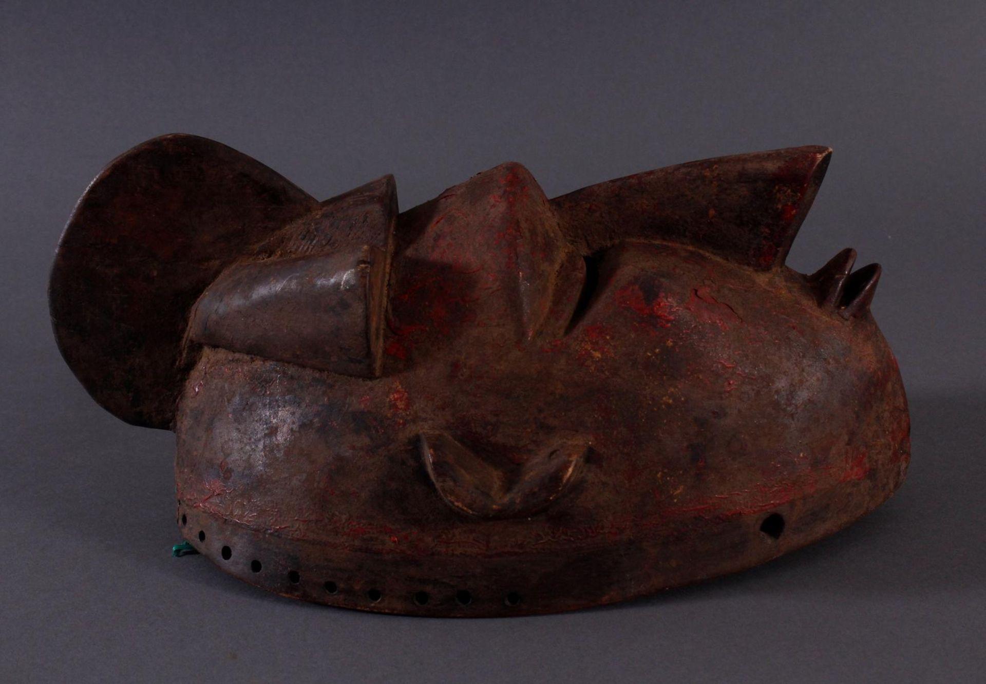 Antike Maske, Baule, Elfenbeinküste 1. Hälfte 20. Jh.Holz geschnitzt,dunkle Patina, Reste von - Bild 2 aus 6