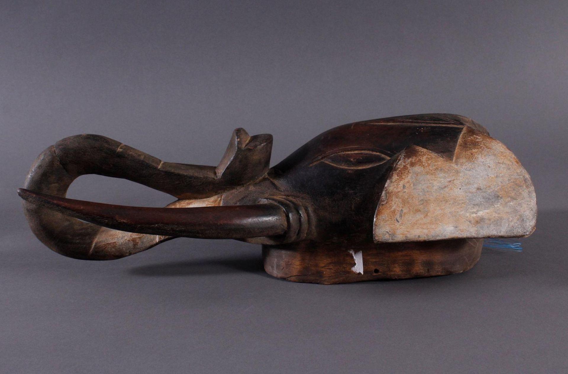 Antike Zoomorphe Maske, Elefant, Gouro 1. Hälfte 20. Jh.Holz geschnitzt, farbig gefasst, ca. 13,5 - Bild 3 aus 5