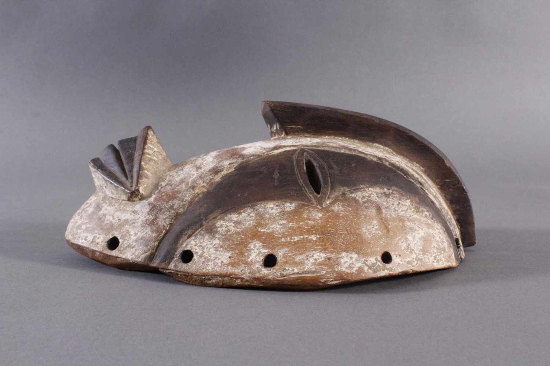 Antike Maske, Gabun 1. Hälfte 20. Jh.Holz geschnitzt, braune Patina, Kaolin Bemalung, ca. 11,5 x - Bild 4 aus 5