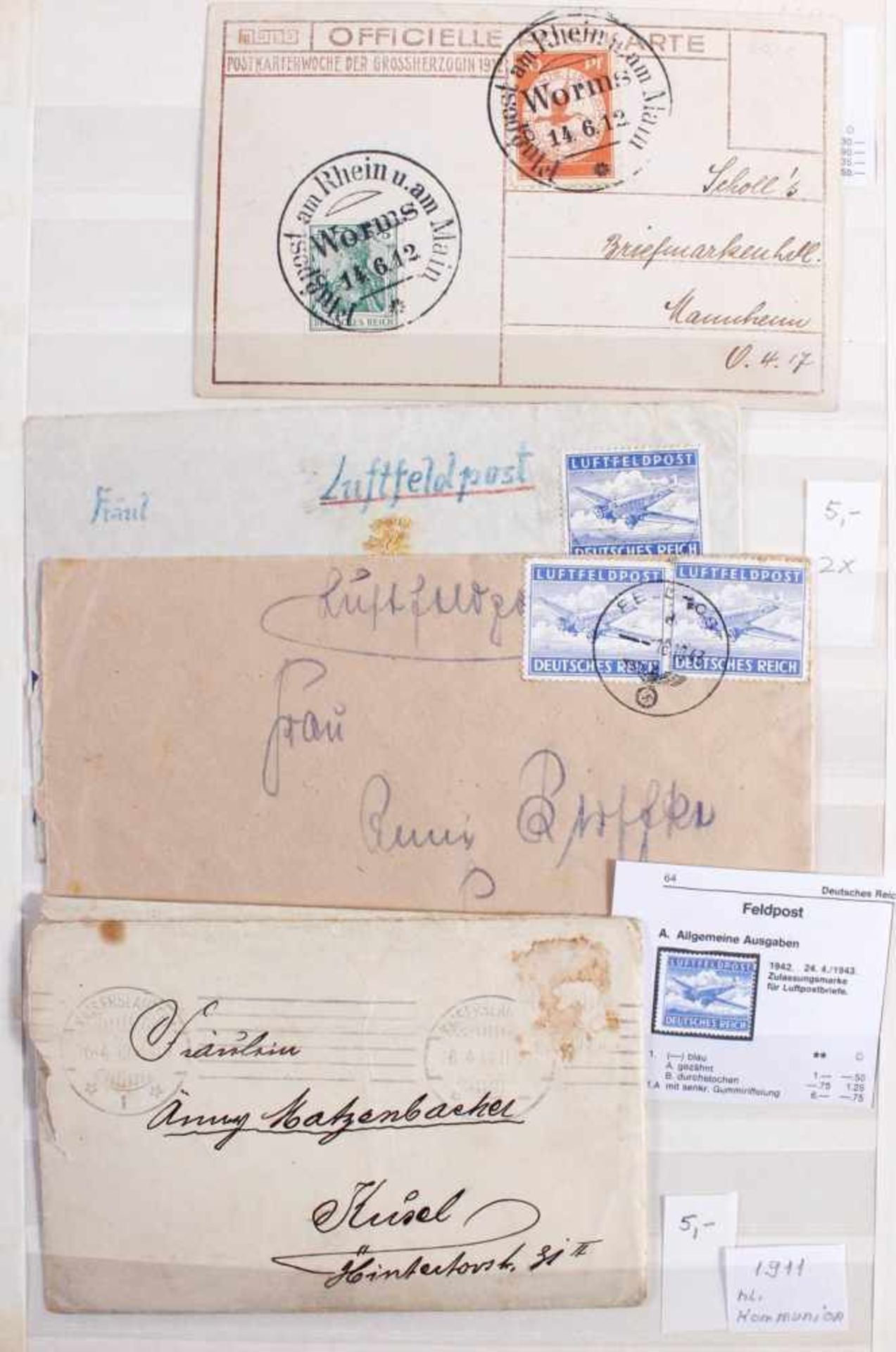 Kleine Sammlung Belege, Ganzsachen und BriefeInsgesamt 3 gut gefüllte Alben.1 Album Briefe, - Bild 2 aus 7