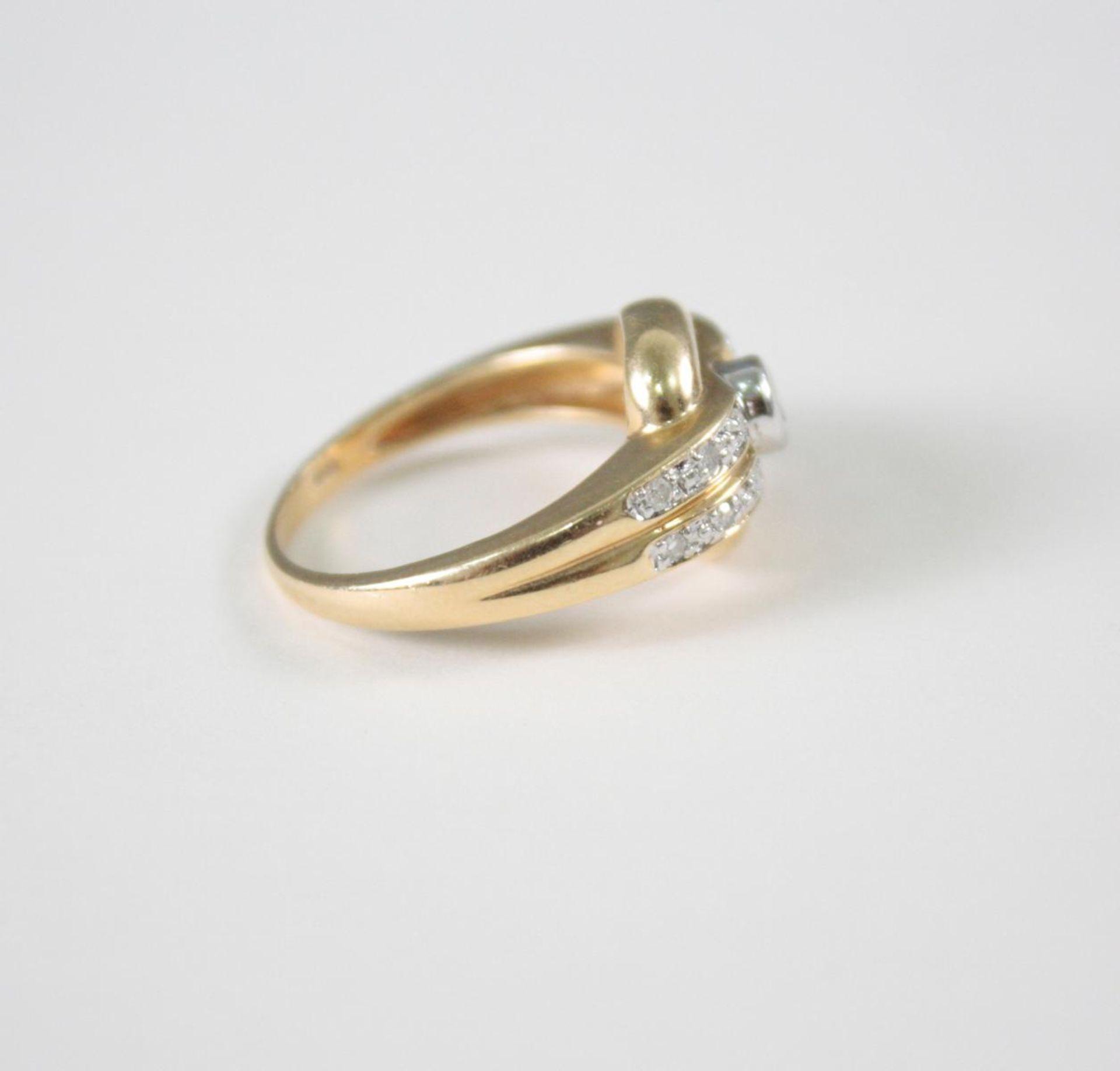 Damenring mit Diamanten, 14 Karat Gelbgold1 Diamant von ca. 0,05 Karat, 12 Diamanten von jeweils ca. - Bild 3 aus 3
