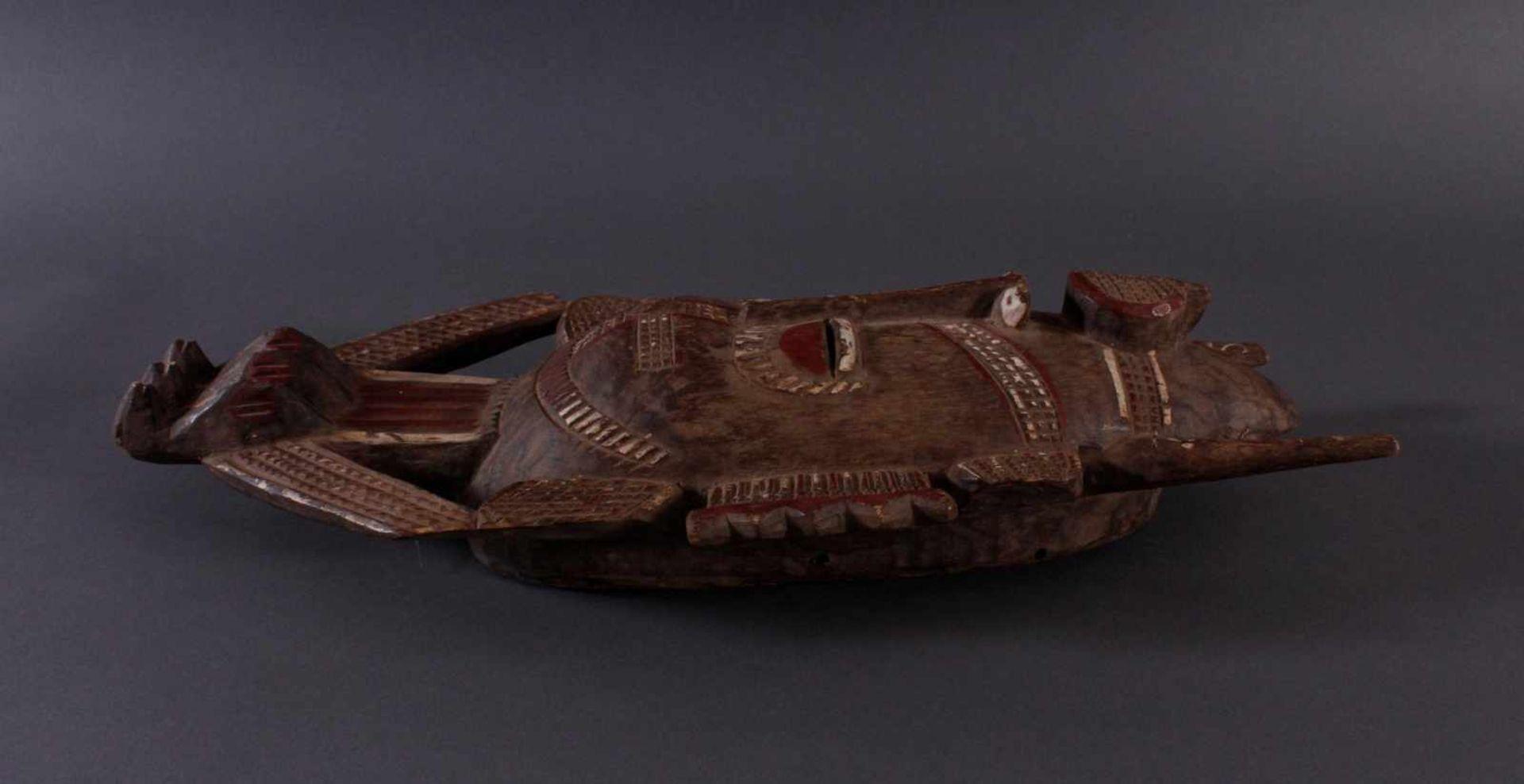 Antike Maske, Senufo, Elfenbeinküste 1. Hälfte 20. Jh.Holz geschnitzt, rotbraune und Weiße Bemalung, - Bild 3 aus 5