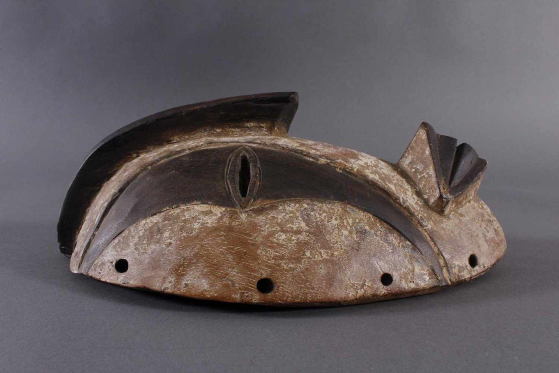 Antike Maske, Gabun 1. Hälfte 20. Jh.Holz geschnitzt, braune Patina, Kaolin Bemalung, ca. 11,5 x - Bild 2 aus 5