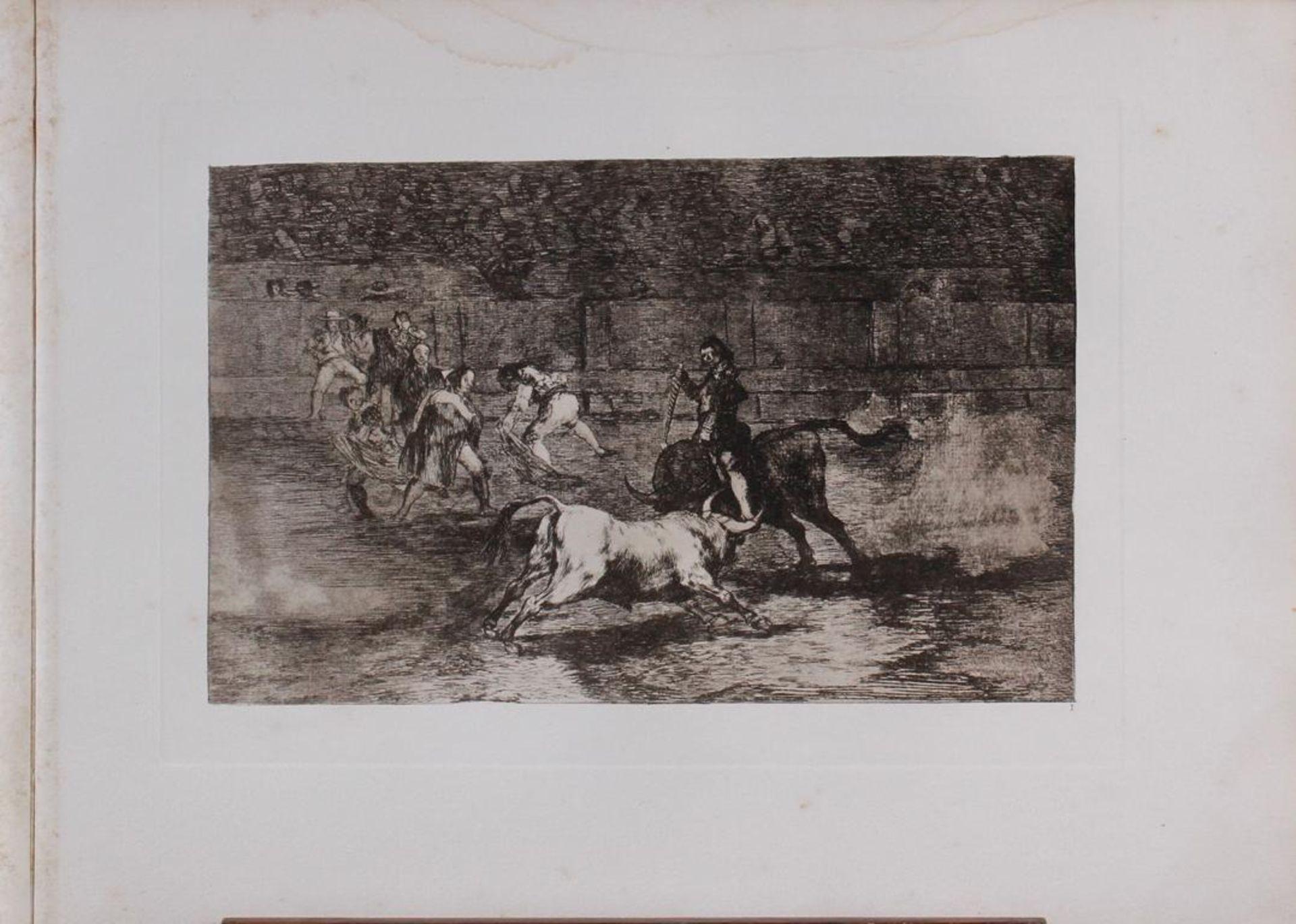 Francisco de Goya (1746 - 1828)Aquatintaradierung 19. Jahrhundert. Stierkampf.Plattenmaß ca. 24,5