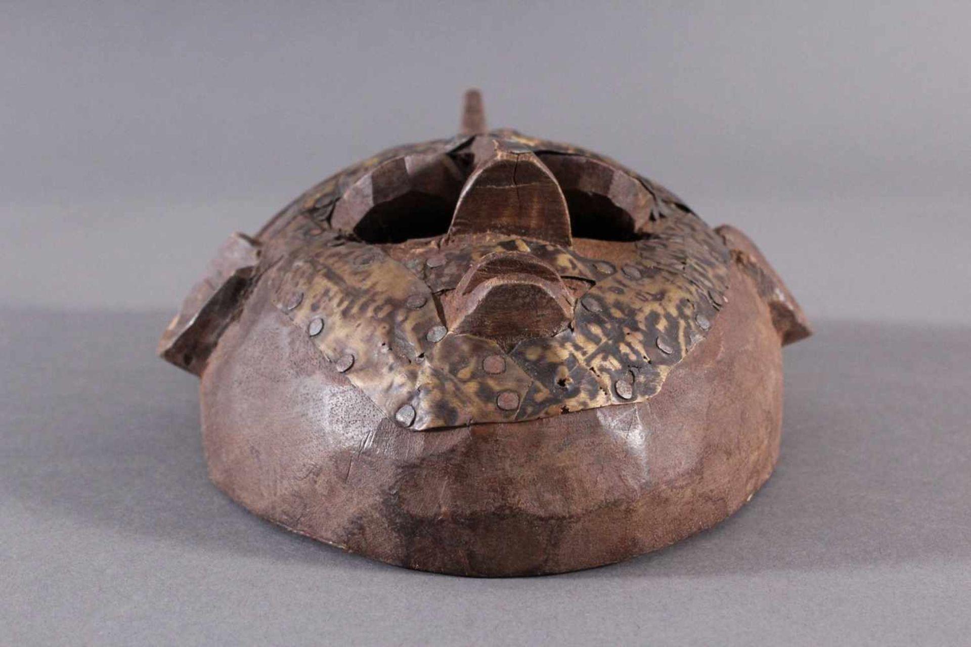 Antike Maske, Marka, Mali 1.Hälfte 19. Jh.Holz geschnitzt, Gesicht stzellenweise mit Messing-Blech - Bild 2 aus 6