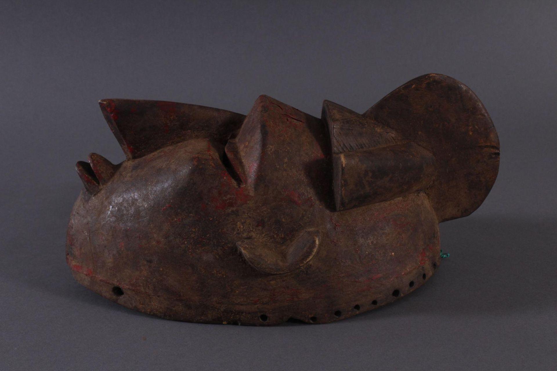 Antike Maske, Baule, Elfenbeinküste 1. Hälfte 20. Jh.Holz geschnitzt,dunkle Patina, Reste von - Bild 3 aus 6