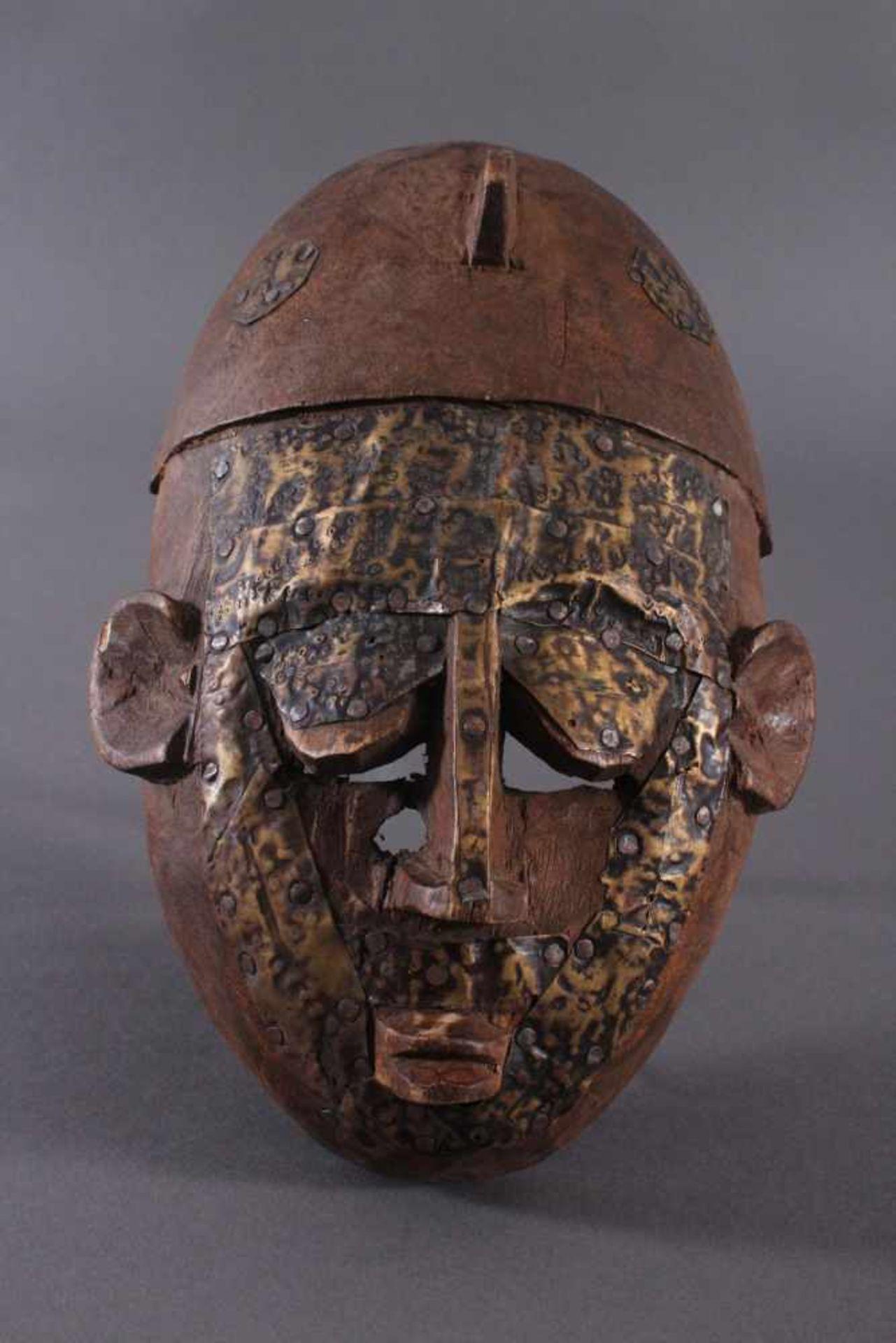 Antike Maske, Marka, Mali 1.Hälfte 19. Jh.Holz geschnitzt, Gesicht stzellenweise mit Messing-Blech