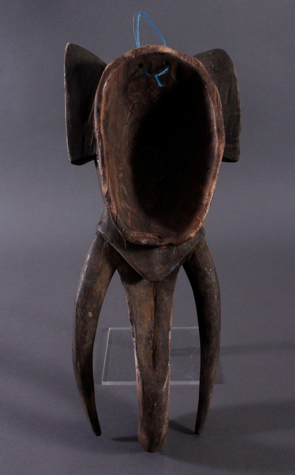 Antike Zoomorphe Maske, Elefant, Gouro 1. Hälfte 20. Jh.Holz geschnitzt, farbig gefasst, ca. 13,5 - Bild 5 aus 5
