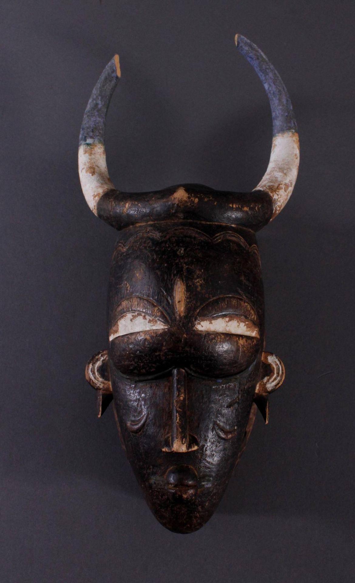 Antike Maske, Kamerun. Büffelmaske 1. Hälfte 20. Jh.Holz geschnitzt, Reste von weißer Farbe,