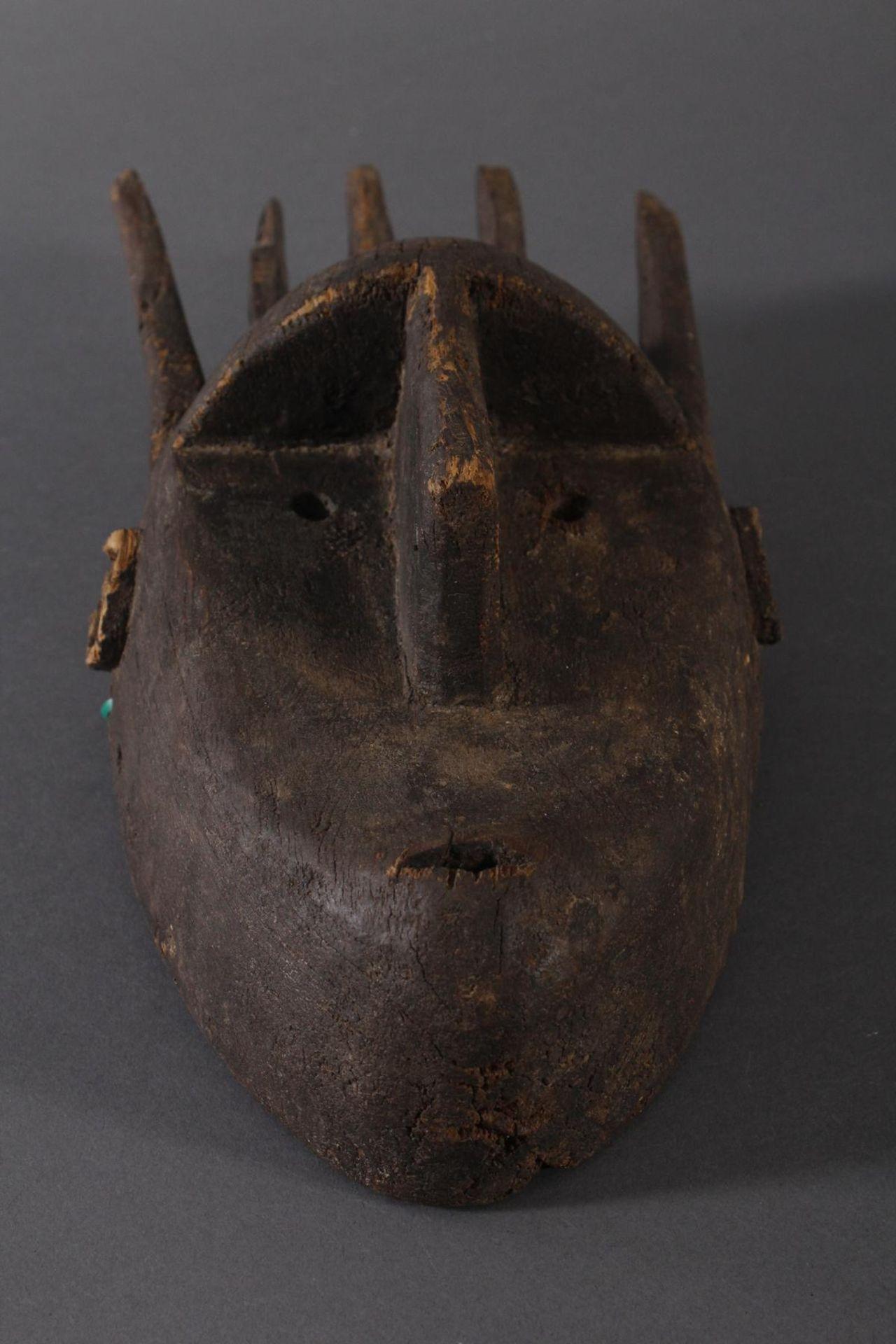 Antike Maske, Marka, Mali 1.Hälfte 19. Jh.Holz geschnitzt, spitz ovales, schlankes Gesicht mit - Bild 4 aus 6