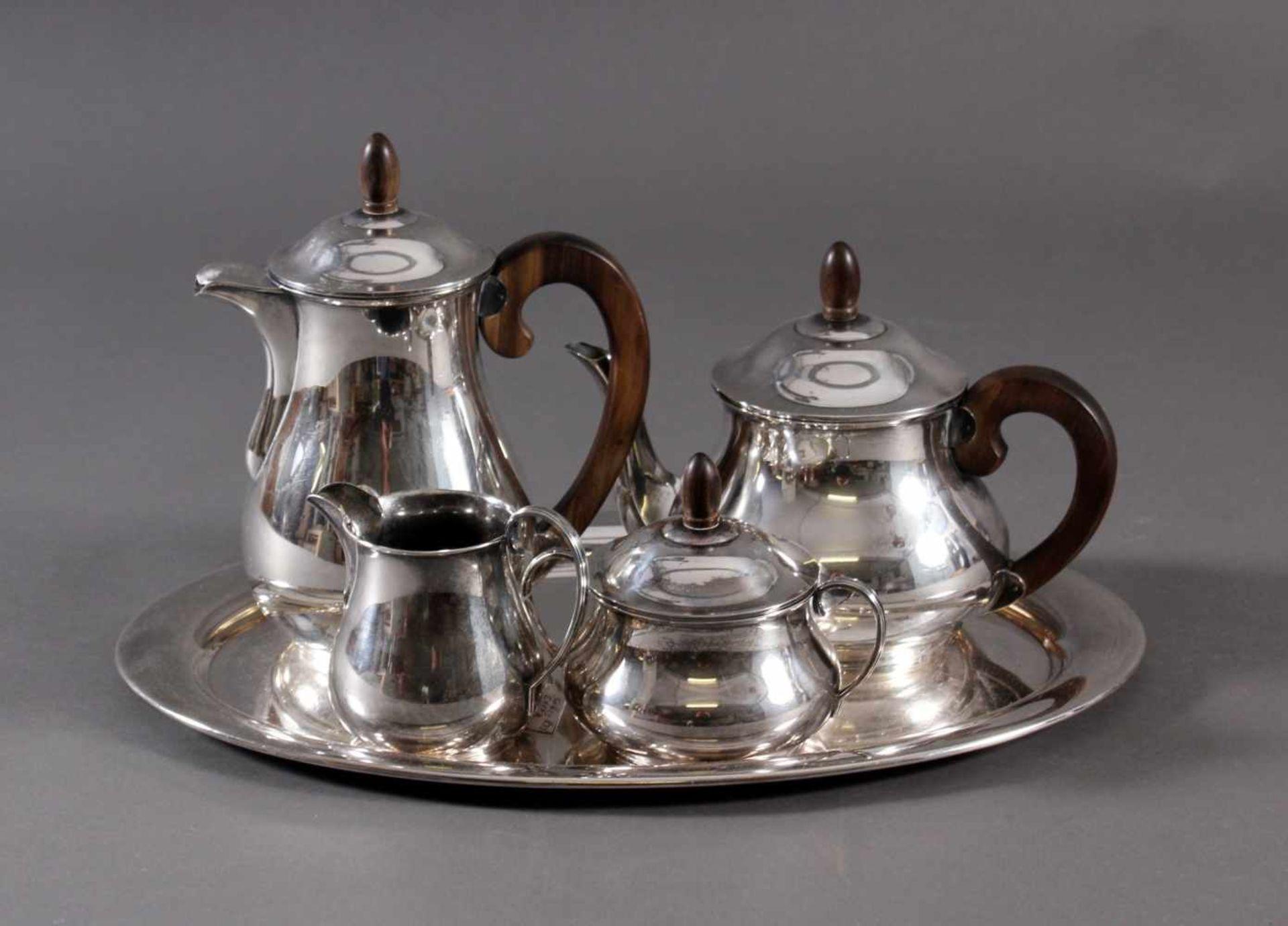 Los 1577 - Art Deko Tee- / Kaffeekern, Deutsch, Sterlingsilber5-teilig, Kaffeekanne, Teekanne, Zucker- und
