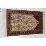 Ghom, SeidenteppichWandteppich, sehr feine Knüpfung, florales Muster, sehr guter Zustand, ca. 150