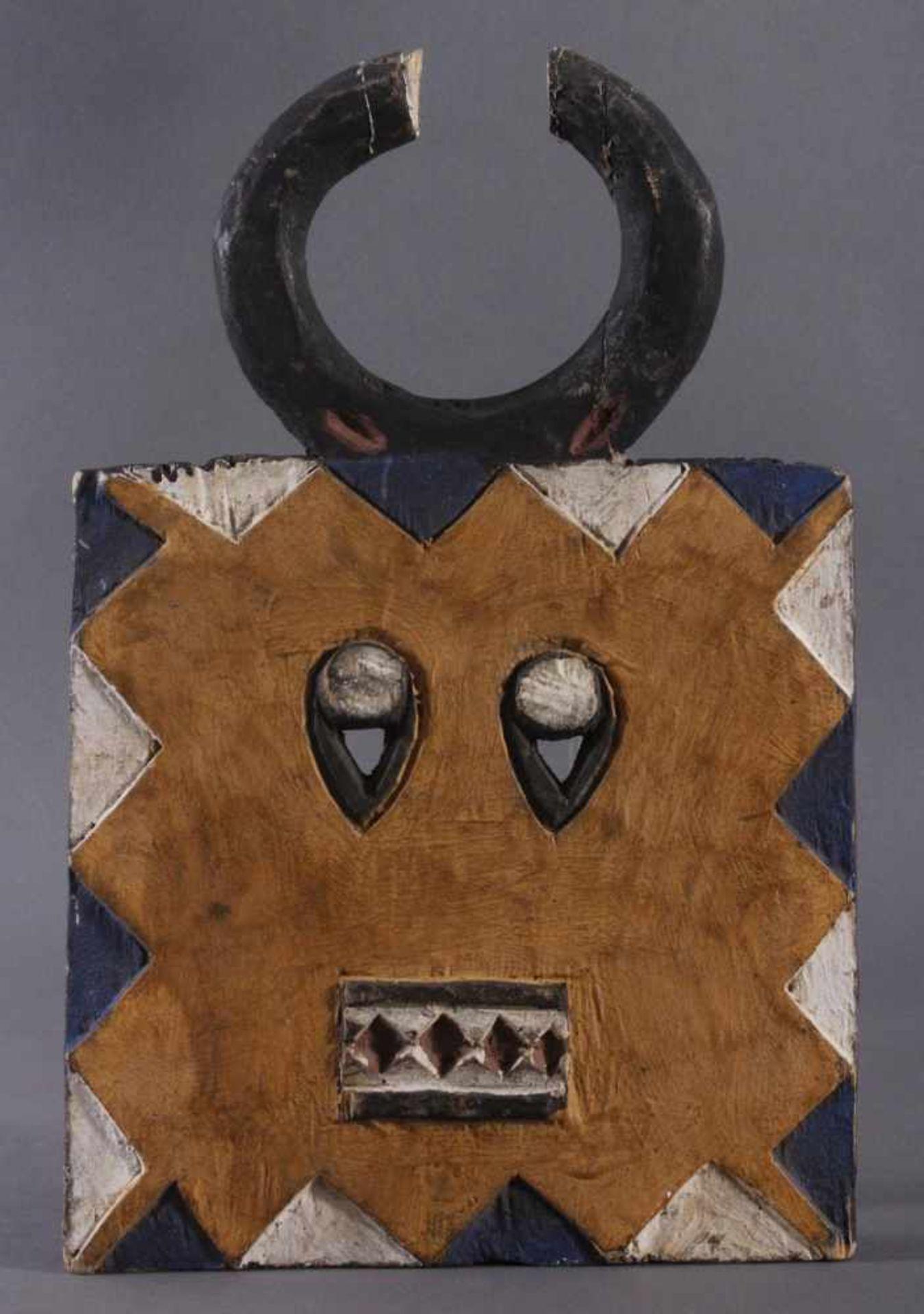 Antike Maske der Baule, Elfenbeinküste 1. Hälfte 20. Jh.Holz geschnitzt, farbig gefasst, ca. 5,5 x