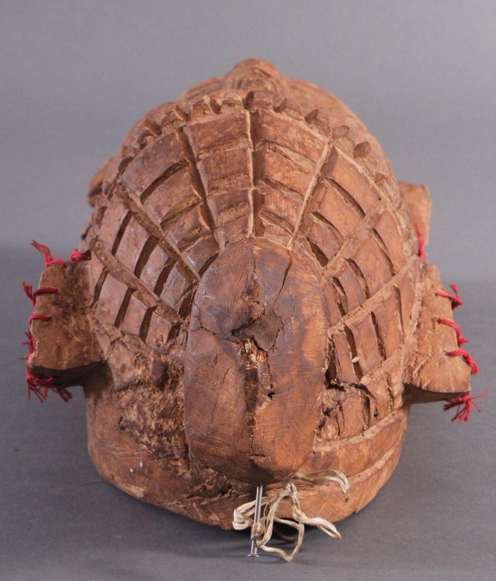 Antike Wandmaske, Mambila Kamerun 1. Hälfte 20. Jh.Helles Holz, geschnitzt, verziert mit roten - Bild 4 aus 6