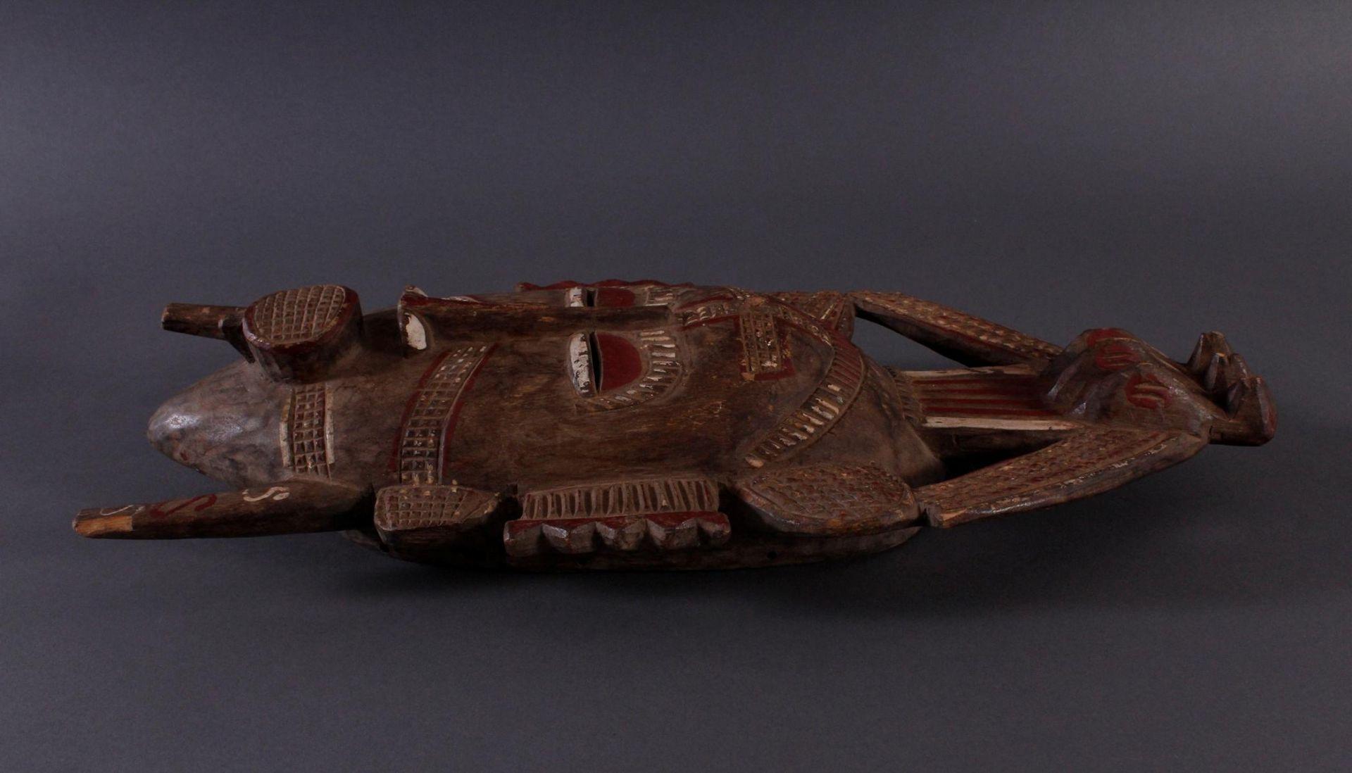 Antike Maske, Senufo, Elfenbeinküste 1. Hälfte 20. Jh.Holz geschnitzt, rotbraune und Weiße Bemalung, - Bild 4 aus 5