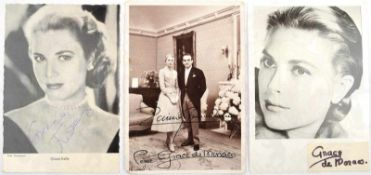 2 AUTOGRAMMKARTEN FÜRSTIN GRACIA PATRICIA VON MONACO, Foto-AK 1956 u. um 1960, 1x m. Fürst Rainier