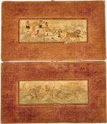 2 SEIDENBILDER UM 1900, Postkutsche mit 4 Pferden, Passagieren u. Gesellschaft beim Hindernisreiten,