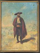 ÖLGEMÄLDE ANDALUSISCHER LANDMANN, von Hermann Lüders, Ölfarbe auf Holz, Bewohner der Provinz Granada