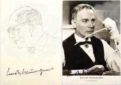 GRÜNDGENS, GUSTAV, (1899-1963), dt. Schauspieler u. Regisseur, 2 Tinten-OU auf Foto-AK (Filmszene v.