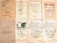 URKUNDENGRUPPE WEST-BERLINER POLIZIST, 11 Teile, 1949-1954, 1. Platz Dreikampf, 1. Platz Staffel-