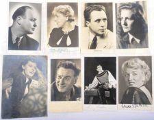 8 ORIGINAL-UNTERSCHRIFTEN, dt. Schauspieler, Sänger u. Musiker, 1948-1954, dabei: Irma Baltuttis,