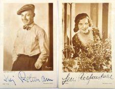 2 AUTOGRAMMKARTEN FILMWESEN: Leni Riefenstahl (1902-2003), dt. Schauspielerin u. Regisseurin (